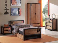 Chambre enfant 5 pièces lit gigogne chevet armoire et commode pin massif foncé et noir Alex 90x200 cm