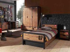 Chambre enfant 5 pièces lit gigogne chevet bureau et armoire 3 portes pin massif foncé et noir Alex 90x200 cm