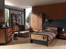 Chambre enfant 5 pièces lit gigogne sommier chevet et armoire 3 portes pin massif foncé et noir Alex 90x200 cm