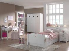 Chambre enfant 6 pièces bois laqué blanc Cœur 90x200 cm