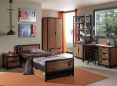 Chambre enfant 6 pièces pin massif foncé et noir Alex 90x200 cm