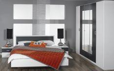 Chambre moderne Blanc et Gris métallisé Kozy