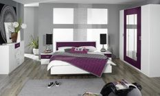 Chambre moderne blanc et myrtille Kozy 160