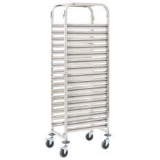 Chariot de cuisine pour 16 plateaux 65,5x48,5x165 cm Inox