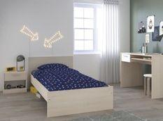 Chambre enfant complete - Lit + chevet + bureau - Style contemporain - Décor acacia clair et blanc