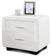Chevet design similicuir blanc 2 tiroirs Vocia