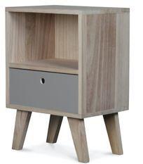 Chevet en bois scandinave gris 1 tiroir Norvik