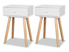Chevet scandinave bois blanc et pieds pin clair Tonay - Lot de 2