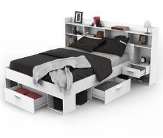 Ensemble lit adulte 140x190/200 cm + Rangement avec Liseuse LEDS - Décor blanc mat