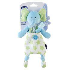 CHICCO-Doudou attache sucette Pocket friend éléphant