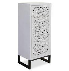 Chiffonnier 5 tiroirs bois blanc et métal noir Dias