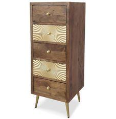 Chiffonnier 5 tiroirs bois foncé et métal doré Falya