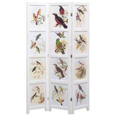 Cloison de séparation 3 panneaux Blanc 105x165 cm Oiseaux