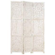Cloison de séparation 3 panneaux Blanc 120x165 cm Bois manguier