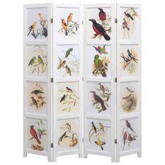 Cloison de séparation 4 panneaux Blanc 140x165 cm Oiseaux