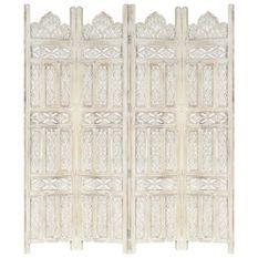 Cloison de séparation 4 panneaux Blanc 160x165 cm Bois manguier