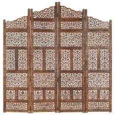Cloison de séparation 4 panneaux Marron 160x165cm Bois manguier