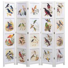 Cloison de séparation 5 panneaux Blanc 175x165 cm Oiseaux