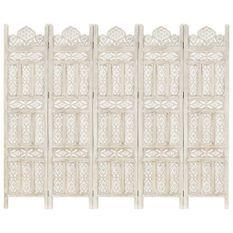 Cloison de séparation 5 panneaux Blanc 200x165 cm Bois manguier