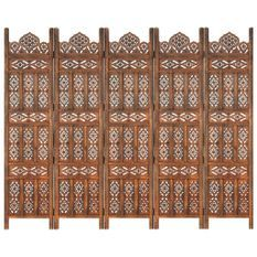 Cloison de séparation 5 panneaux Marron 200x165cm Bois manguier