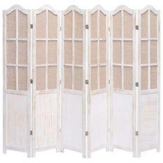 Cloison de séparation 6 panneaux Blanc 210x165 cm Tissu