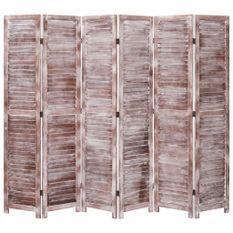 Cloison de séparation 6 panneaux Marron 210x165 cm Bois