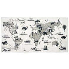 CMP - PARIS Tapis mappemonde - 70x140 cm - Blanc, gris et noir