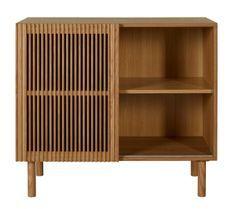 Commode 1 porte 1 étagère bois frêne foncé Akaia