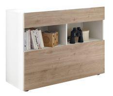 Commode 1 porte 1 tiroir bois laqué blanc et chêne clair Raia