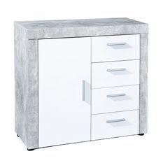 Commode 1 porte 4 tiroirs bois blanc et effet béton Bonnie