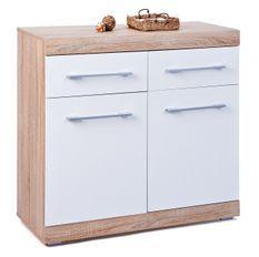 Commode 2 portes 2 tiroirs bois chêne clair et blanc Babou