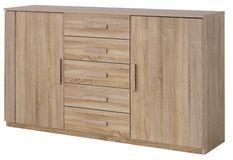 Commode 2 portes 5 tiroirs chêne de Sonoma Kurik
