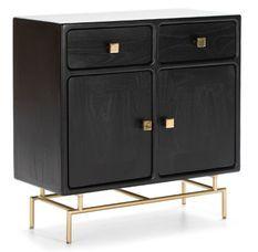 Commode 2 portes bois massif noir et pieds métal doré
