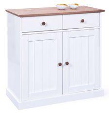 Commode 2 portes pin massif foncé et blanc Campanou 90 cm