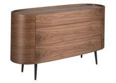 Commode 3 grands tiroirs ovale bois noyer et pieds noir Keliane 135 cm