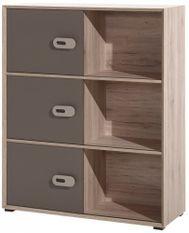 Commode 3 portes 3 niches bois clair et marron Foresta