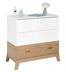 Commode 3 tiroirs bois blanc et chêne clair Archipel