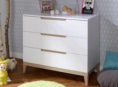Commode 3 tiroirs bois blanc et hêtre clair Evidence