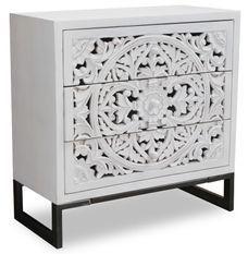 Commode 3 tiroirs bois blanc et métal noir Dias
