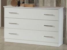 Commode 3 tiroirs bois brillant blanc Mona
