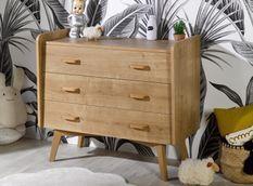 Commode 3 tiroirs bois chêne clair Caprice L 100 cm