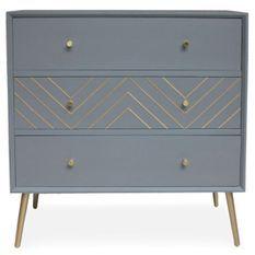 Commode 3 tiroirs bois massif gris et pieds métal doré Lumir