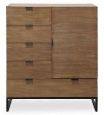 Commode 5 tiroirs 1 porte chêne clair et métal noir Baktoo