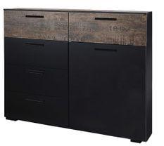 Commode 5 tiroirs 1 porte noir et marron vintage Loft