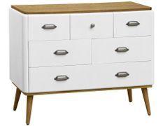 Commode 6 tiroirs bois blanc et clair Haziel