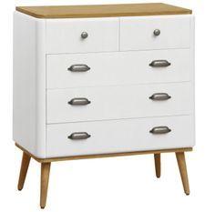 Commode 8 tiroirs bois blanc et clair Haziel
