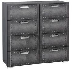Commode 8 tiroirs Style industriel Graphite Work