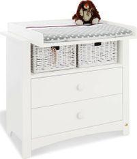 Commode à langer 2 tiroirs 1 niche bois laqué blanc Florentina