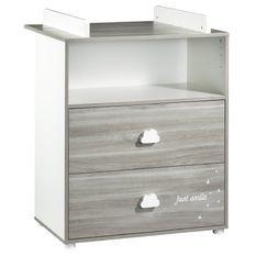 Commode à langer 2 tiroirs bois blanc et chêne gris Smile