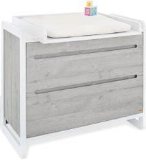 Commode à langer 2 tiroirs bois laqué blanc et frêne gris Curve